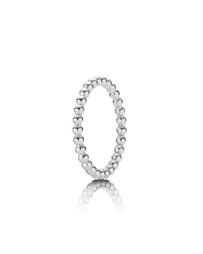 BEADED ELEGANCE SILVER RING