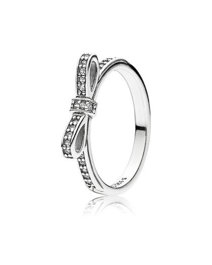 BOW SILVER RING WITH CUBIC ZIRCONIA