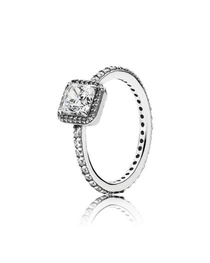 SQUARE SILVER RING WITH CLEAR CUBIC ZIRCONIA