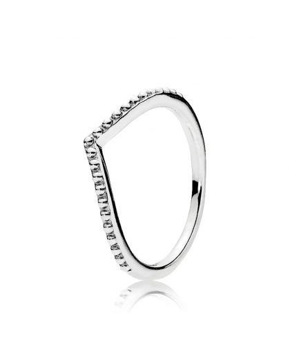 BEADED WISHBONE SILVER RING