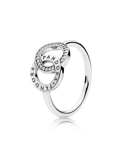 PANDORA LOGO SILVER RING WITH CLEAR CUBIC ZIRCONIA