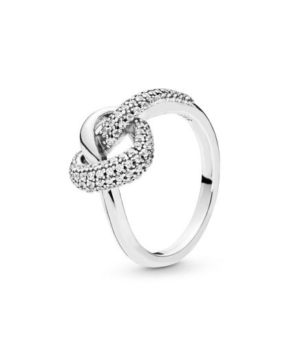 KNOTTED HEART SILVER RING WITH CLEAR CUBIC ZIRCONIA