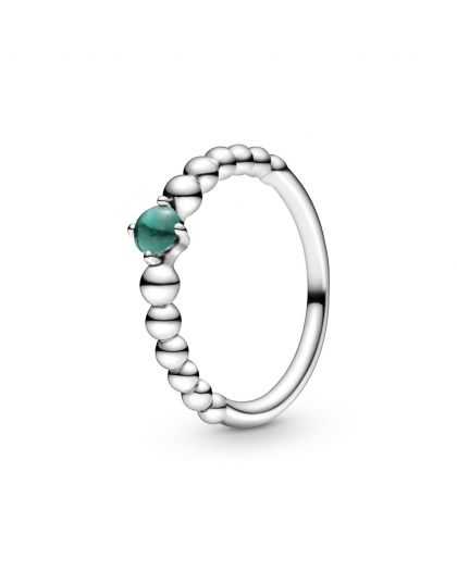 STERLING SILVER RING WITH TREATED RAINFOREST GREEN TOPAZ