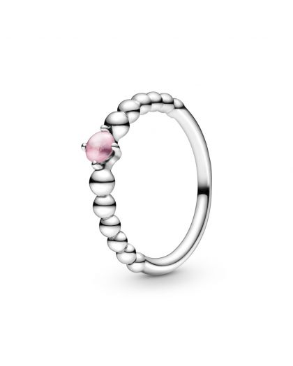 STERLING SILVER RING WITH TREATED PETAL PINK TOPAZ