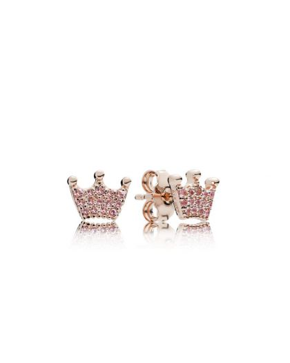 CROWN PANDORA ROSE STUD EARRINGS WITH ORCHID PINK CRYSTAL AND ROSE PINK CRYSTAL
