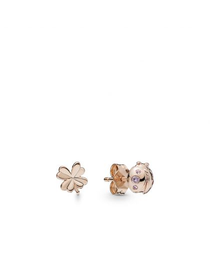 LADYBIRD AND CLOVER PANDORA ROSE STUD EARRINGS WITH ORCHID PINK AND ROSE PINK CRYSTAL