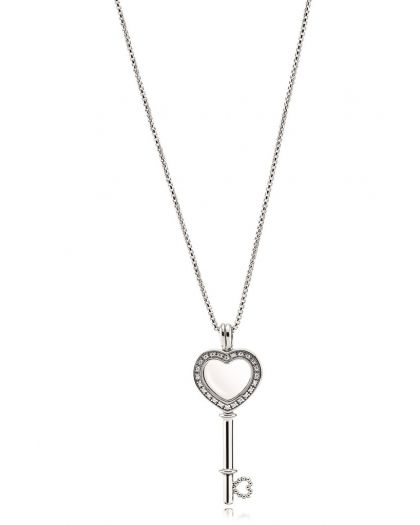 FLOATING LOCKET HEART KEY SILVER PENDANT WITH CLEAR CUBIC ZIRCONIA AND NECKLACE