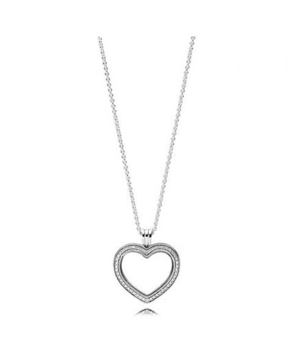 HEART FLOATING LOCKET SILVER PENDANT WITH CLEAR CUBIC ZIRCONIA AND NECKLACE