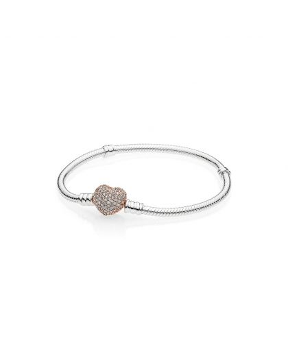 SNAKE CHAIN SILVER BRACELET WITH PANDORA ROSE HEART CLASP WITH CLEAR CUBIC ZIRCONIA