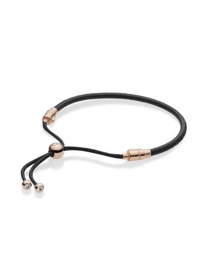 PANDORA ROSE SLIDING BRACELET IN BLACK LEATHER, WAXED CORD WITH CLEAR CUBIC ZIRCONIA
