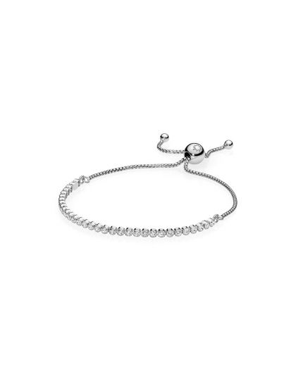 SILVER BRACELET WITH CLEAR CUBIC ZIRCONIA