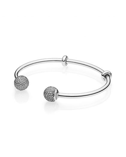 SILVER OPEN BANGLE WITH SILICONE STOPPERS