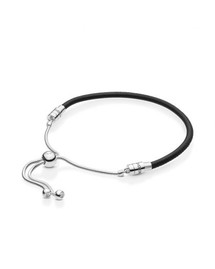 SILVER SLIDING BRACELET WITH BLACK LEATHER AND CLEAR CUBIC ZIRCONIA