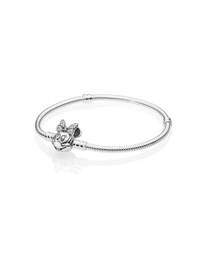 DISNEY MINNIE SILVER BRACELET WITH CLEAR CUBIC ZIRCONIA