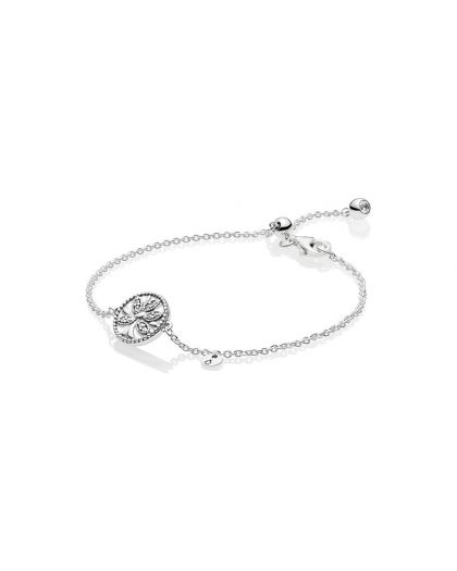 TREE OF LIFE SILVER BRACELET WITH CLEAR CUBIC ZIRCONIA AND WHITE ENAMEL
