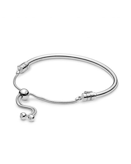 SILVER BANGLE WITH CLEAR CUBIC ZIRCONIA AND SLIDING CLASP