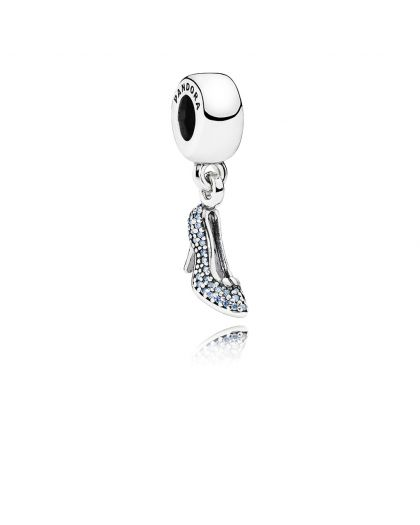 DISNEY CINDERELLA SHOE SILVER DANGLE WITH CUBIC ZIRCONIA