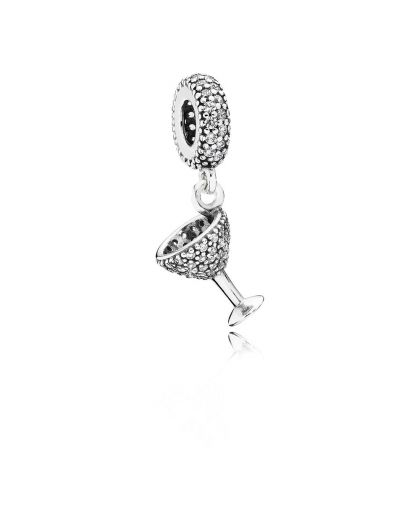 COCKTAIL GLASS SILVER DANGLE WITH CUBIC ZIRCONIA