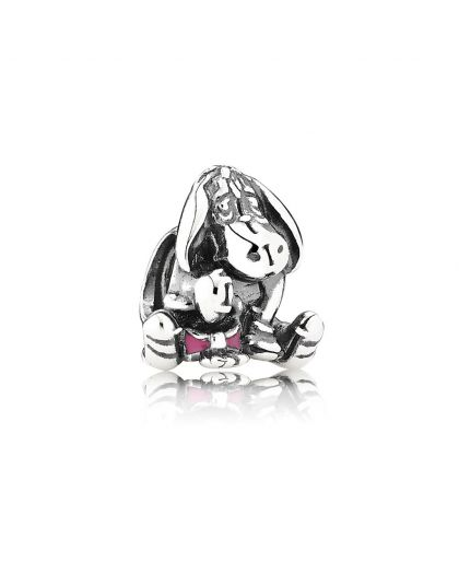 DISNEY EEYORE SILVER CHARM WITH DARK PINK ENAMEL