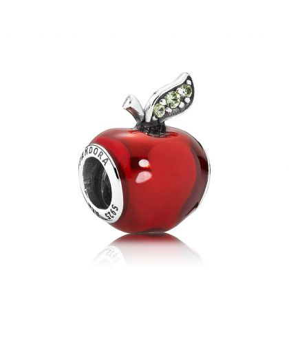 DISNEY SNOW WHITE APPLE SILVER CHARM WITH RED ENAMEL AND DARK GREEN CUBIC ZIRCONIA