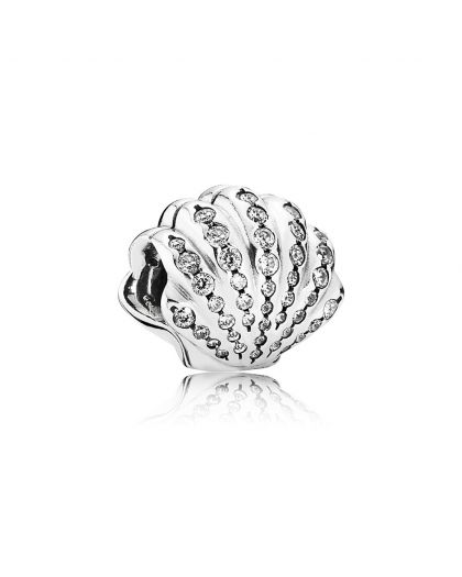 DISNEY ARIEL SHELL SILVER CHARM WITH CUBIC ZIRCONIA