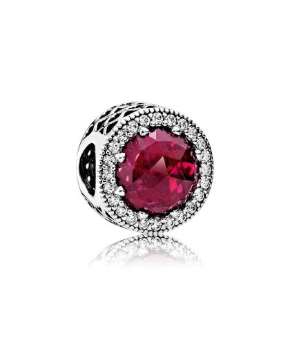 ABSTRACT SILVER CHARM WITH CERISE CRYSTAL