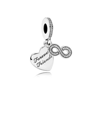 FOREVER FRIENDS HEART SILVER DANGLE WITH CLEAR CUBIC ZIRCONIA