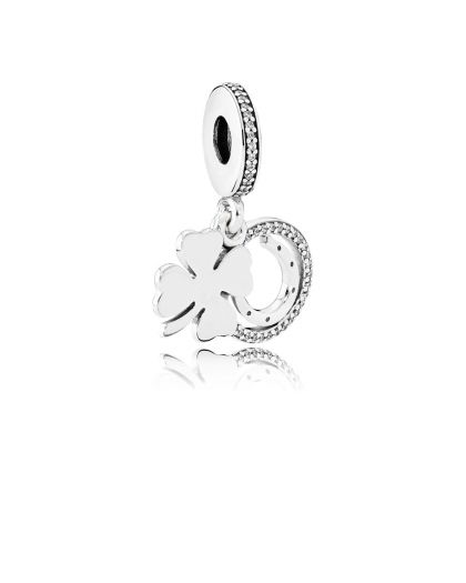 GOOD LUCK SILVER DANGLE WITH CLEAR CUBIC ZIRCONIA