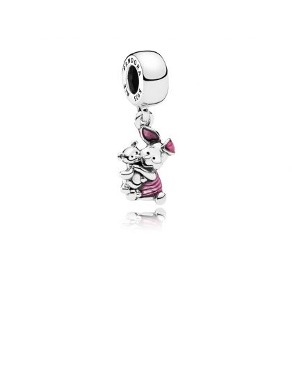DISNEY PIGLET SILVER DANGLE WITH PINK ENAMEL