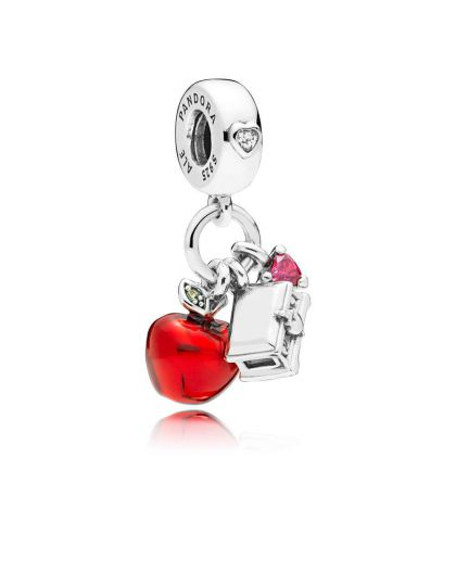 DISNEY SNOW WHITE SILVER DANGLE WITH RED AND CLEAR CUBIC ZIRCONIA, LIGHT GREEN CRYSTAL AND RED ENAME
