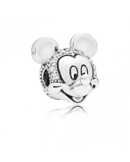 DISNEY MICKEY SILVER CLIP WITH CLEAR CUBIC ZIRCONIA