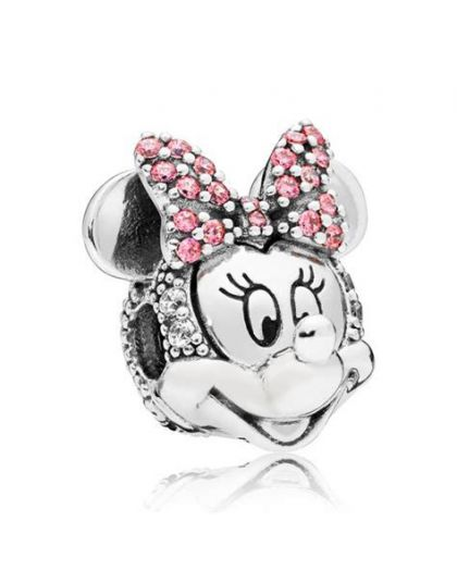 DISNEY MINNIE SILVER CLIP WITH CLEAR AND FANCY PINK CUBIC ZIRCONIA
