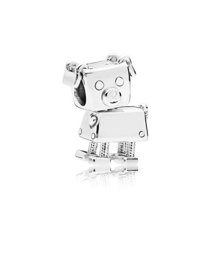 ROBOT DOG SILVER CHARM WITH WHITE ENAMEL
