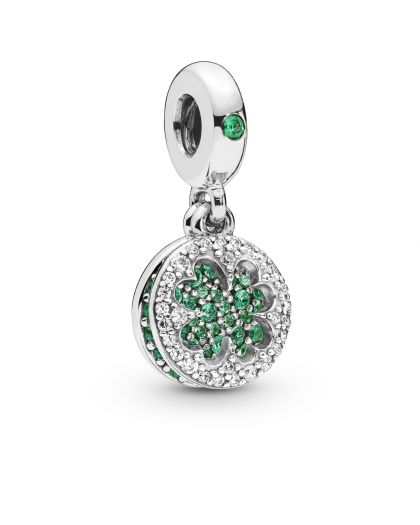 CLOVER SILVER DANGLE WITH ROYAL GREEN, AQUA GREEN CRYSTAL AND CLEAR CUBIC ZIRCONIA
