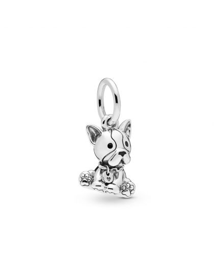 FRENCH BULLDOG SILVER DANGLE WITH BLACK ENAMEL