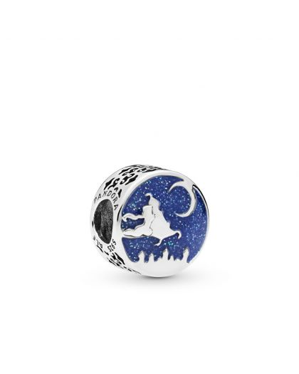 DISNEY ALADDIN AND JASMINE SILVER CHARM WITH BLUE ENAMEL