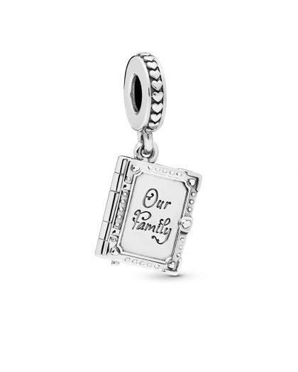 FAMILY BOOK OPENABLE SILVER DANGLE