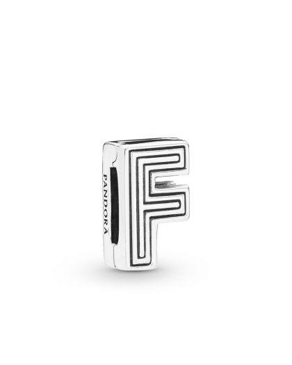 PANDORA REFLEXIONS LETTER F SILVER CLIP CHARM