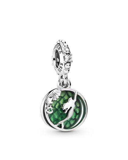 DISNEY ARIEL STERLING SILVER DANGLE WITH CLEAR CUBIC ZIRCONIA, ROYAL GREEN CRYSTAL AND GREEN ENAMEL