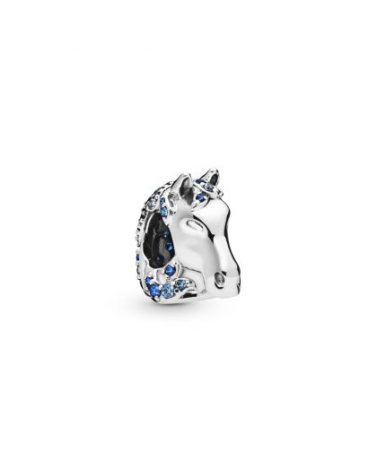 DISNEY NOKK STERLING SILVER CHARM WITH FANCY BLUE CUBIC ZIRCONIA,NIGHT BLUE AND FOREVER BLUE CRYSTAL