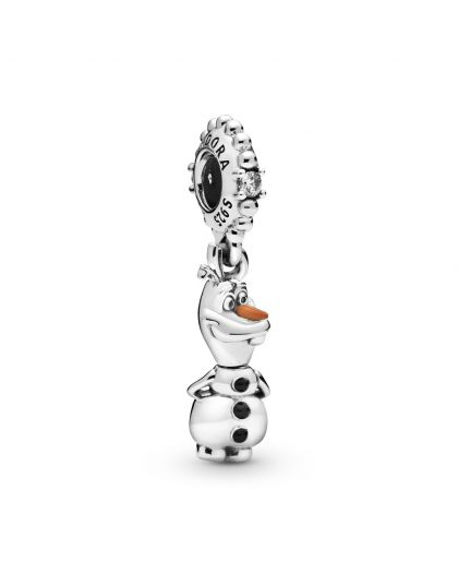 DISNEY OLAF STERLING SILVER DANGLE WITH CLEAR CUBIC ZIRCONIA, BLACK AND ORANGE ENAMEL